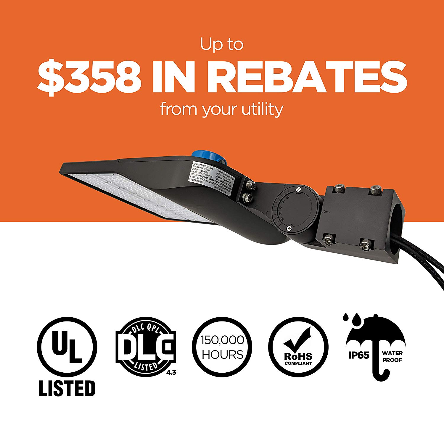 Everwatt 150w Led Outdoor Parking Lot Light With Photocell