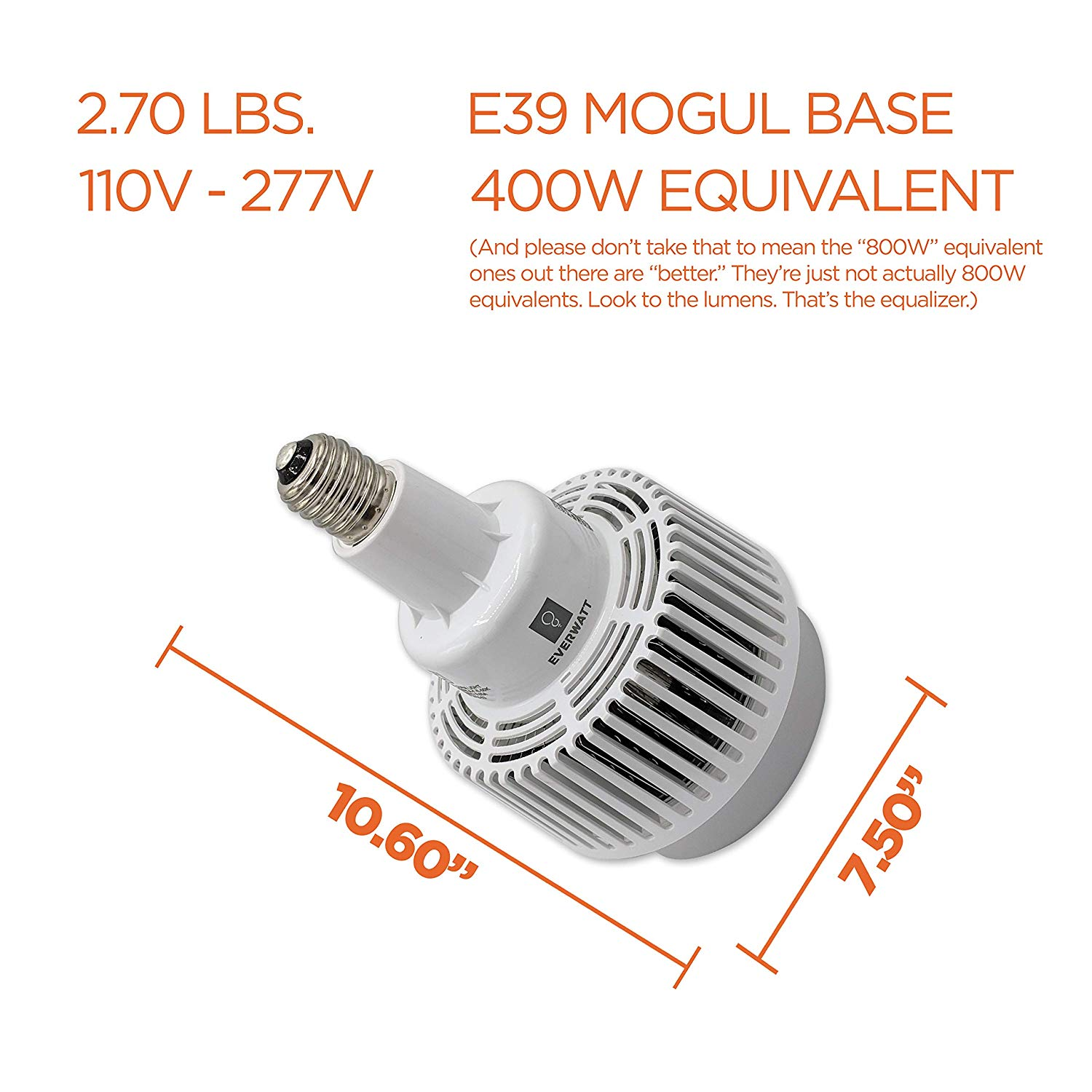 100W LED High Bay Bulb, E39 Mogul, Replacement For 400W