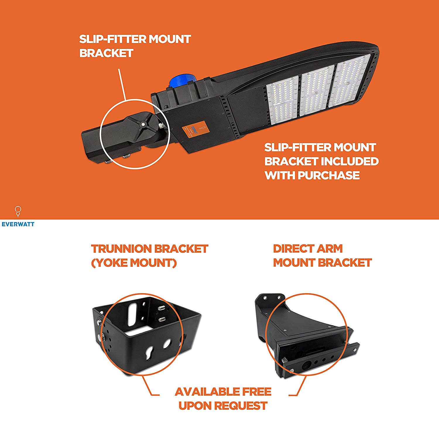 Everwatt 185w Led Outdoor Parking Lot Light With Photocell